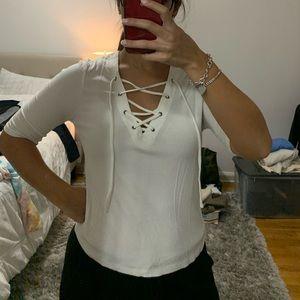 White cris cross front shirt